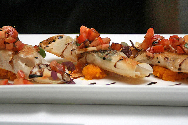 Sea Bream blanketed with Crispy Brick Phyllo on Butternut Pumpkin Puree, and topped with Tomato Salsa