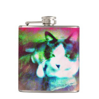 snowshoe mixed media kitty hip flasks