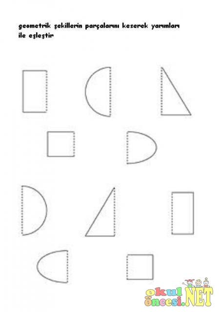 Geometrik şekillerle Yarım Bütün Kavramı