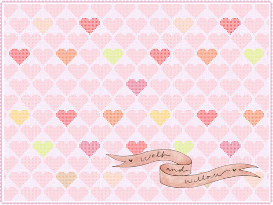 Cross Stitch Hearts Wallpaper Free Freebie Download DIY Desktop Design Illustration Pattern Blog Pink Pretty Hearts Sewing Wolf Willow Style Inspiration