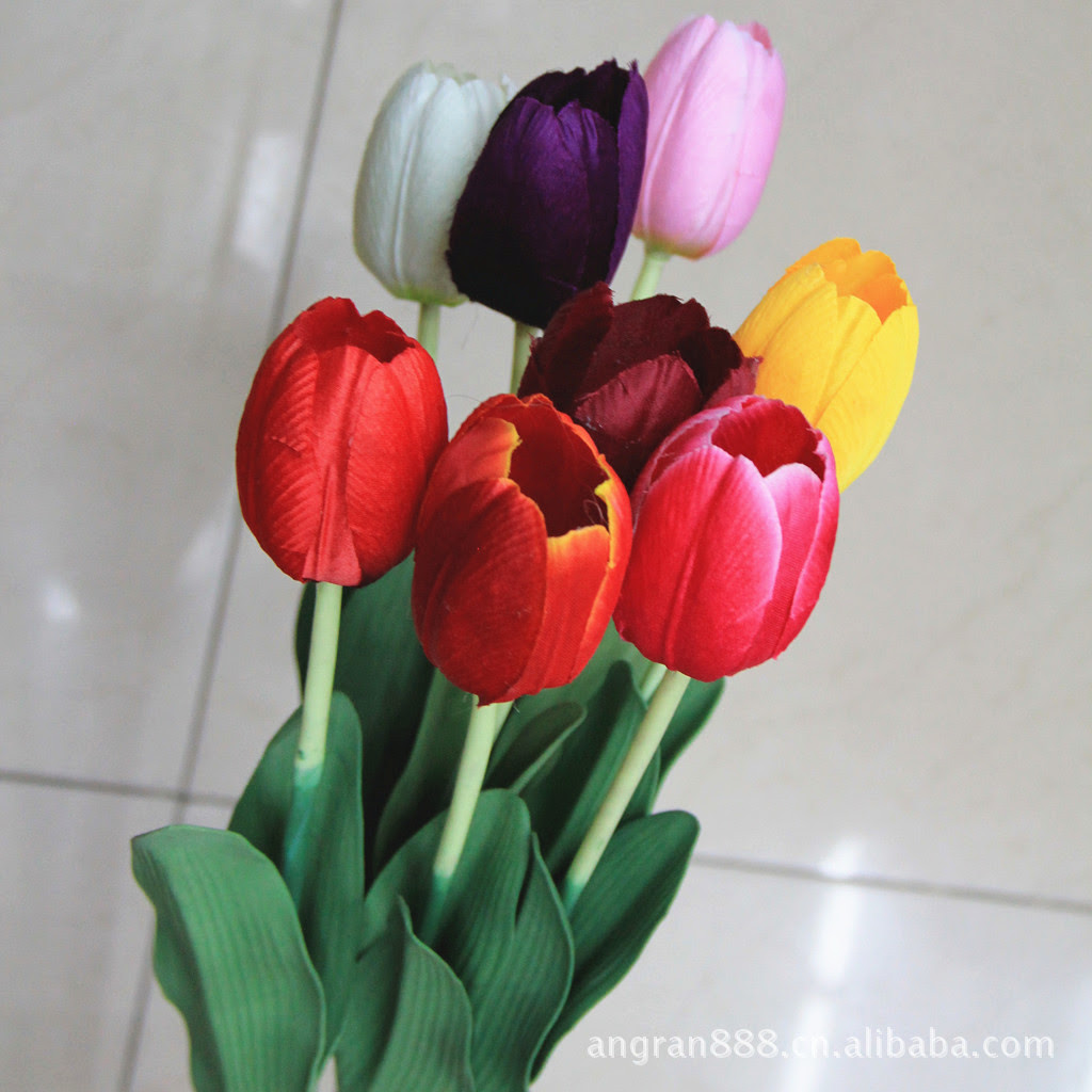25pcs\/lot PU Tulip Artificial Flowers Wedding Home Decorative Flowers Home Decoration Flower 6
