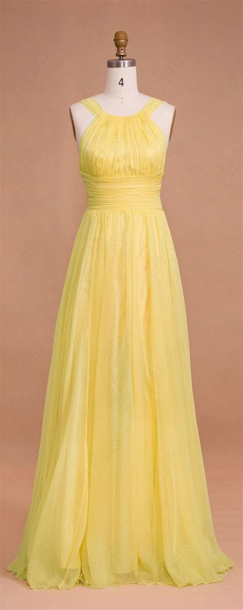 Yellow Long Chiffon Prom Dresses Bridesmaid Dresses