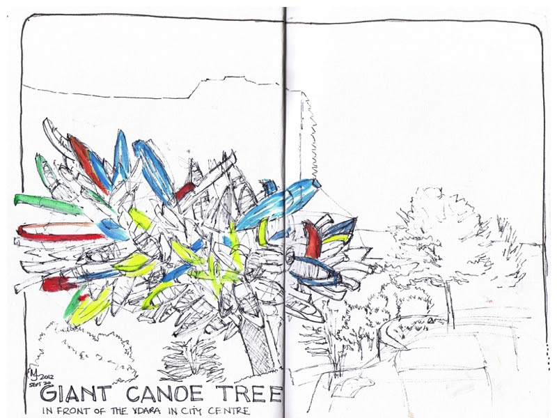 MJ SKETCHBOOK - Urban Sketcher - Las Vegas - Big Edge by Nancy Rubins Canoe sculpture
