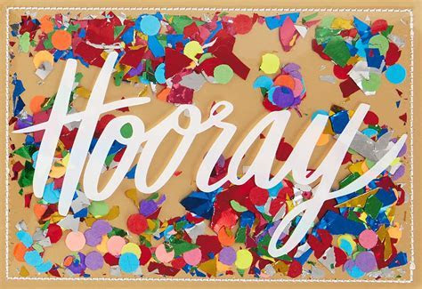 Hooray Confetti Congratulations Card   Greeting Cards