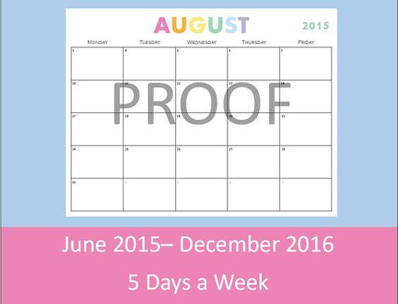 Printable Calendar, 5 Day Calendar, 5 Day Weekly Planner, Teacher ...