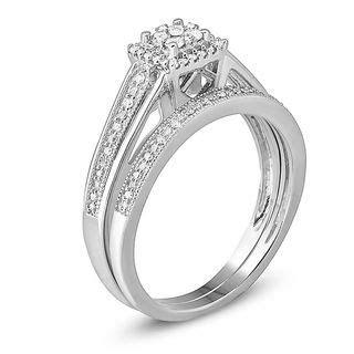 1/4 CT. T.W. Vintage Style Diamond Frame Bridal Set in