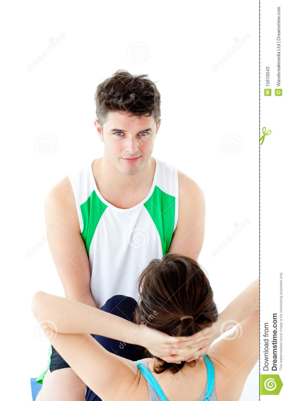 Male Therapist Doing Fitness Exercises With Woman Stock ...