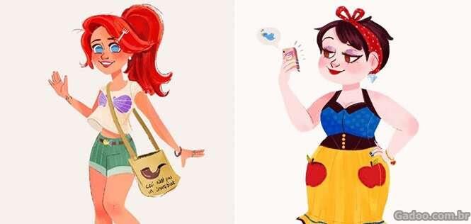 Princesas da Disney como se fossem garotas modernas