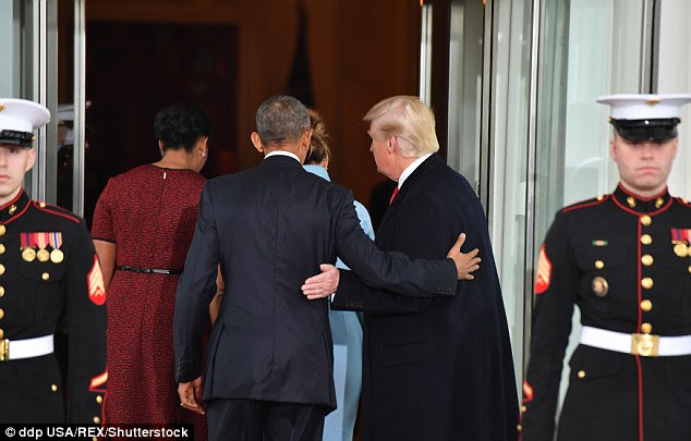 'Trump is at ease when he is greeting Obama. His face is relaxed and open,' said Wood. 'This is an indication of respect, and shows that he has no desire to dominate.'