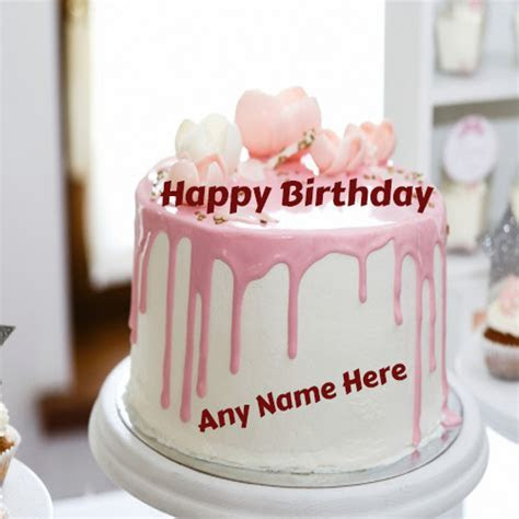 Write name On happy Birthday beautiful flowers cake images