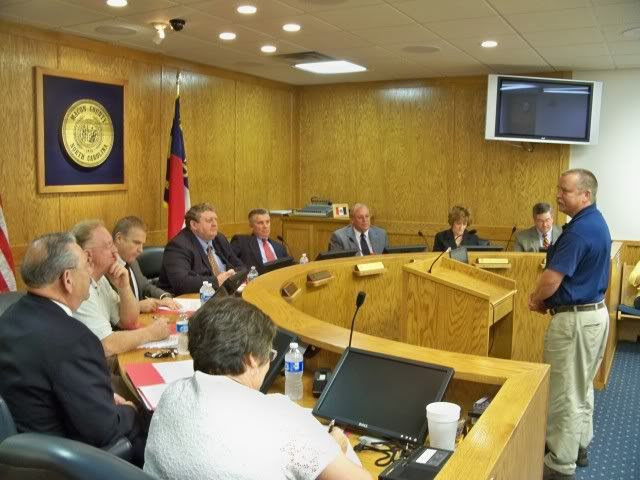 The new Cooperative Extension Director, Alan Durden addresses the Macon County Commissioners