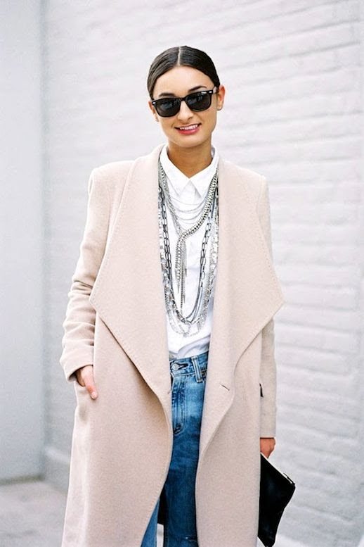 Le Fashion Blog Street Style Long Pale Pink Coat White Button Down Long Layered Necklace Slouchy Jeans Via Vanessa Jackman