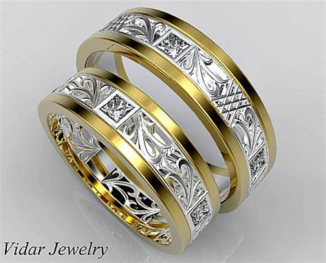 Unique Diamond Matching Wedding Ring Set   Vidar Jewelry
