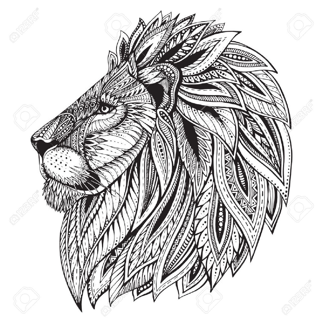 Lion Black And White Drawing At Getdrawingscom Free For Personal