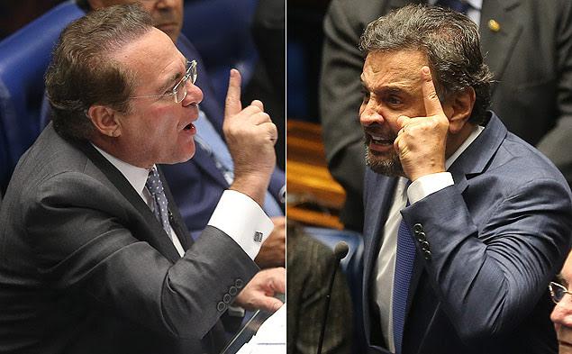 """Renan Calheiros (PMDB-AL) e Aécio Neves (PSDB-MG) """"[bateram boca no Senado]"""":http://www1.folha.uol.com.br/poder/2015/02/1585315-em-sessao-tensa-renan-e-aecio-batem-boca-no-senado.shtml"""