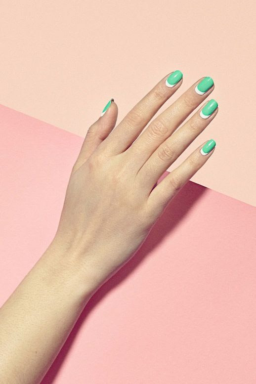 Le Fashion Blog 3 Manicures To Try Now Green White Moon Nails Via Harpers Bazaar Border Line Nail Art 2014 photo Le-Fashion-Blog-3-Manicures-To-Try-Now-Green-White-Moon-Nails-Via-Harpers-Bazaar.jpg