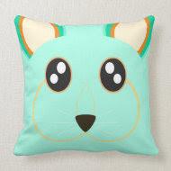 Cute mint green rabbit Pillow