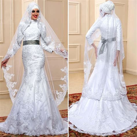 Love the 2016 Vintage White Satin Lace Muslim Wedding