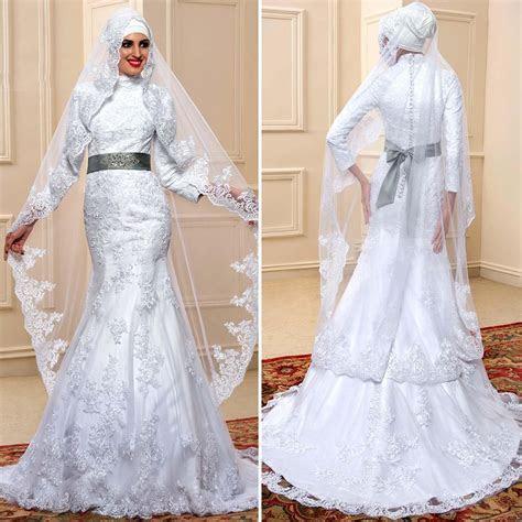 Love the 2016 Vintage White Satin Lace Muslim Wedding
