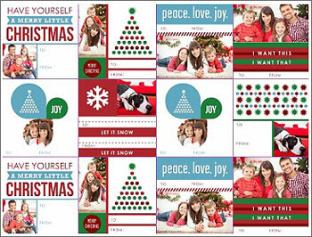 Customize Christmas gifts with these cheerful, photo-friendly Christmas gift tags.