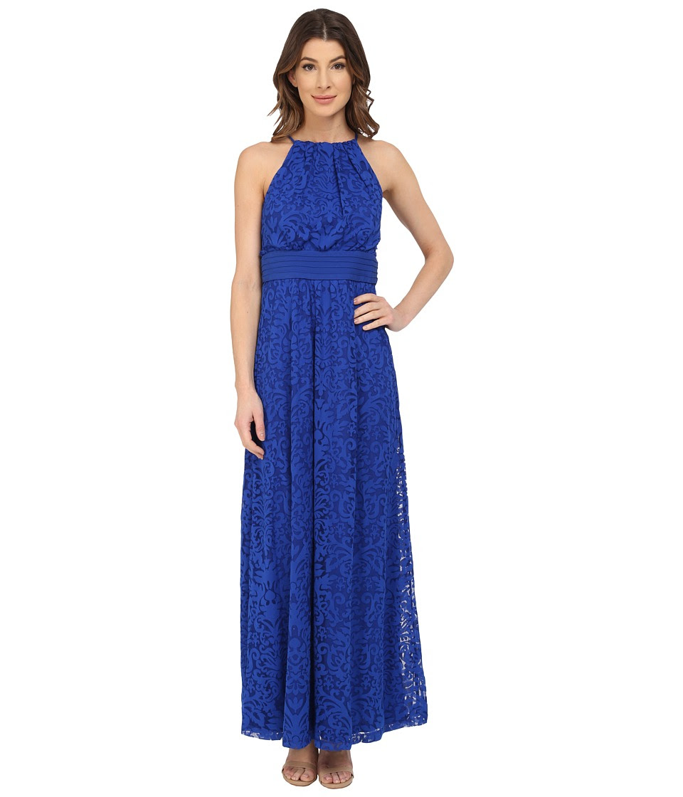 Maggy London - Pintuck Drop Waist Maxi Dress (Cascade Blue) Women's Dress
