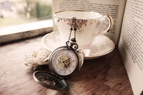 book, clock, cup, photography, tea, time, vintage
