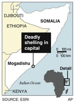 Map of area in Somalia where attacks were made by the resistance forces against the US-backed President who was boarding a plane enroute to Uganda. AMISOM and funding from the Obama administration has kept the TFG barely afloat. by Pan-African News Wire File Photos