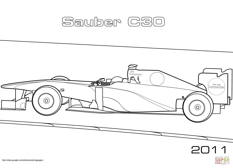 Formule 1 Sauber C30 coloriages pour visualiser la version imprimable ou colorier en ligne patible avec les tablettes iPad et Android