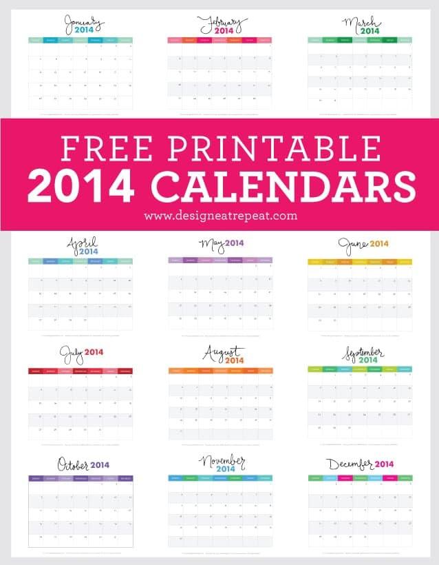 Free Printable 2014 Calendars | Download at Design Eat Repeat