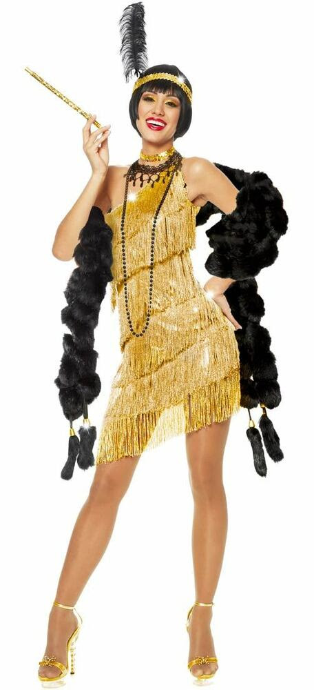 1920s roaring 20's adult womens gold dazzling flapper