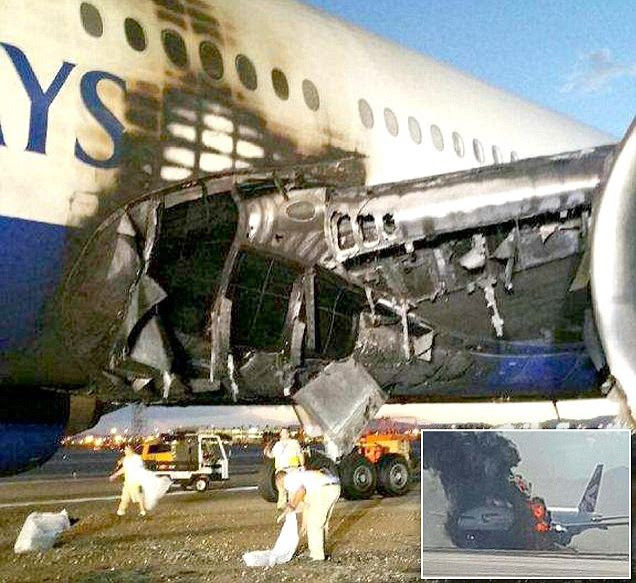 Images of British Airways jet that caught fire in Vegas seems to show engine EXPLODED