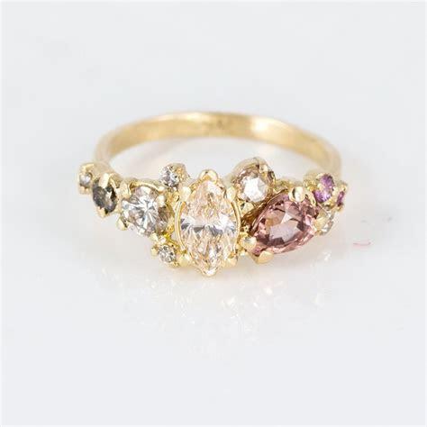 Blush Diamond and Gemstone Cluster Ring   Ringcrush