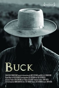 Poster for the film Buck is a stark black and white image of Buck Brannaman in a fedora.