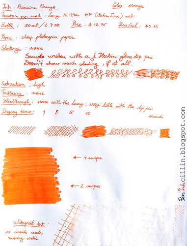 Diamine Orange ink review on photocopier paper