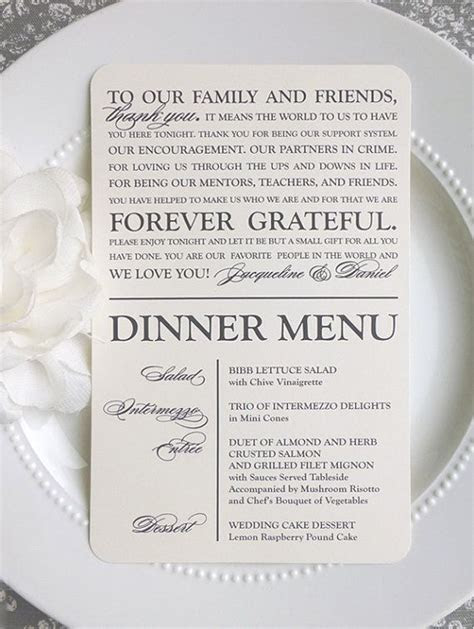 Printed Wedding Menu and Thank You GRACEFUL COLLECTION