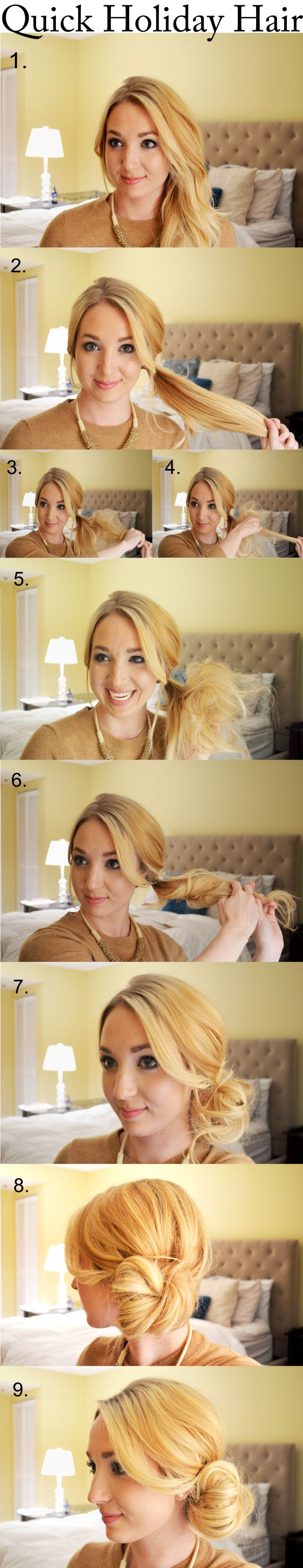 Quick Holiday Hair–the perfect low side bun