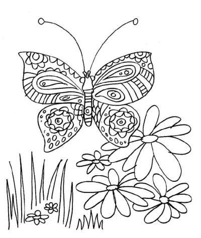 Dibujo De Mariposa En Las Flores Dibujo Para Colorear De Mariposa