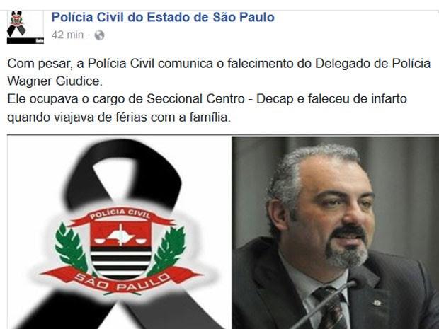 Polícia Civil de SP confirmou a morte de Wagner Giudice no Facebook (Foto: Reprodução/Facebook/Yara KassandWagner Giudice)