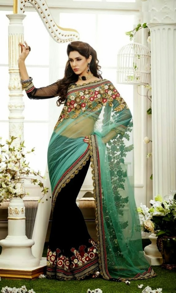 Bridal-Wedding-Rich-Heavy-Embroidered-Sarees-Designs-Lehanga-Style-Fancy-Sari-New-Fashion-8