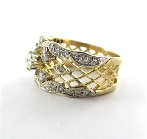Gold Wedding Band 22 Diamond 14kt Solid Karat Yellow