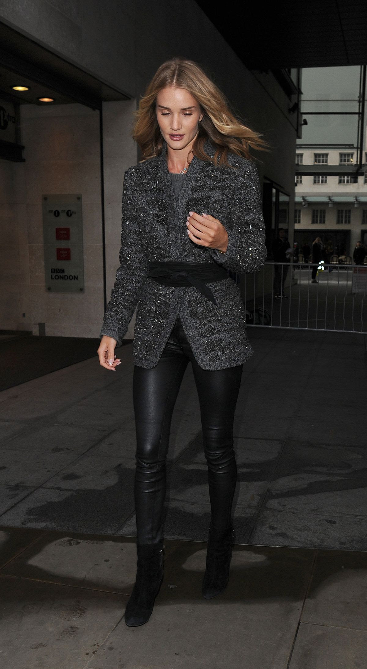 ROSIE HUNTINGTON-WHITELEY Leaves BBC Radio 1 Studios in London 3001