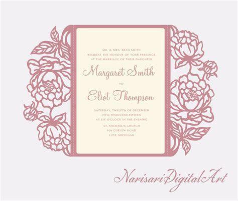 Peonies cut Wedding invitation, 5x7 Gate fold Card