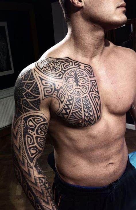 awesome maori arm chest tattoo men
