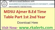 MDSU Ajmer B.Ed Time Table 2020 Download MDS University B.Ed Part 1st 2nd Year Exam Date Sheet @.mdsuajmer.ac.in