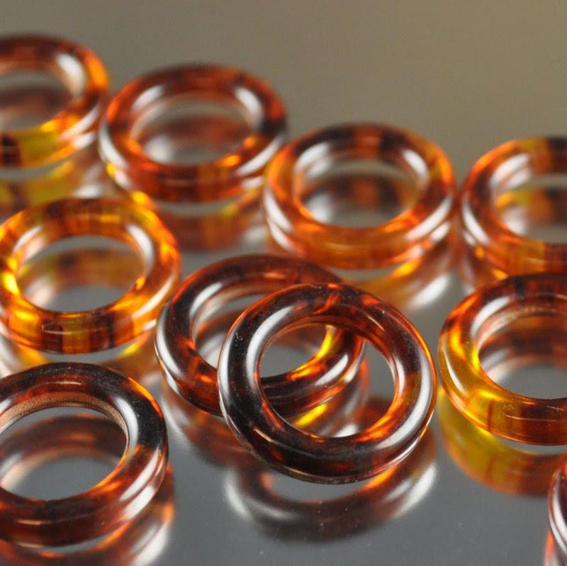 s36680 Vintage Bakelite - 19 mm Ring - Tortishell (1)