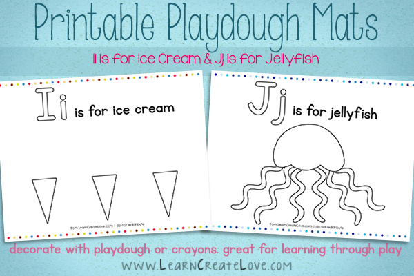 Printable Playdough Mats: I & J