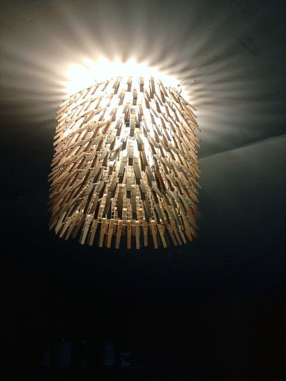 Clothes Pin Chandelier - Light - Clothes Pins Lamp Cover - Fixture