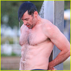 Hugh Jackman Bares His Hot Body During an Outdoor Shower!