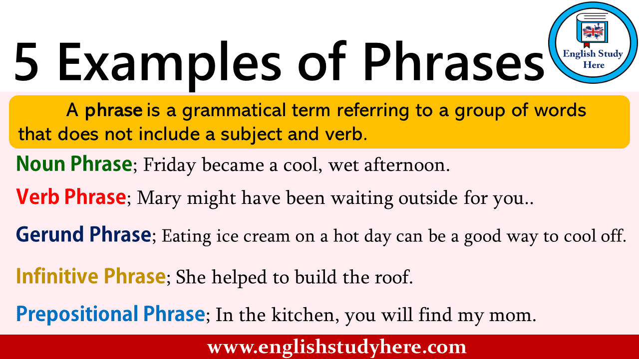 5 Examples of Phrases - English Study Here