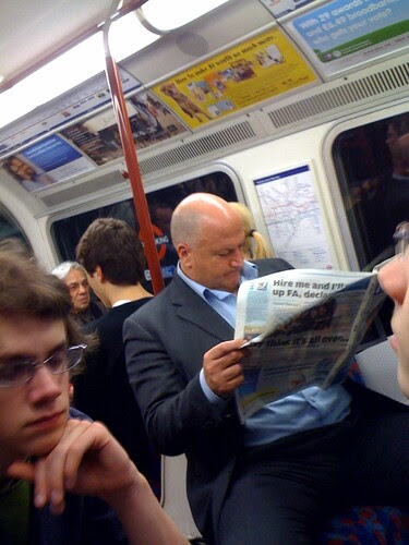 Bob Crow on the Tube by Mags Halliday